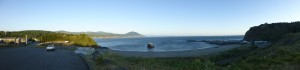 Panoramic shot of the ocean in Brookings, Oregon