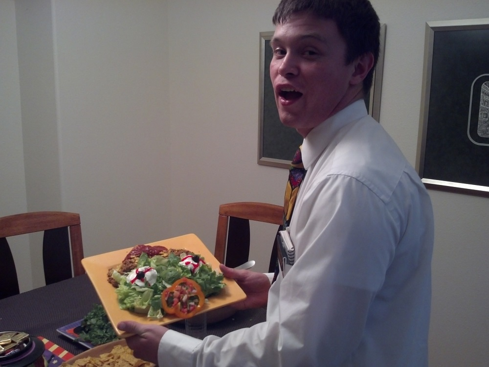 Elder Austin Rushton with Salad