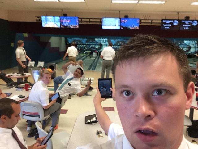 Elder Austin Rushton bowling