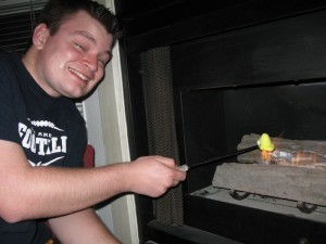 Erik roasting a Peep